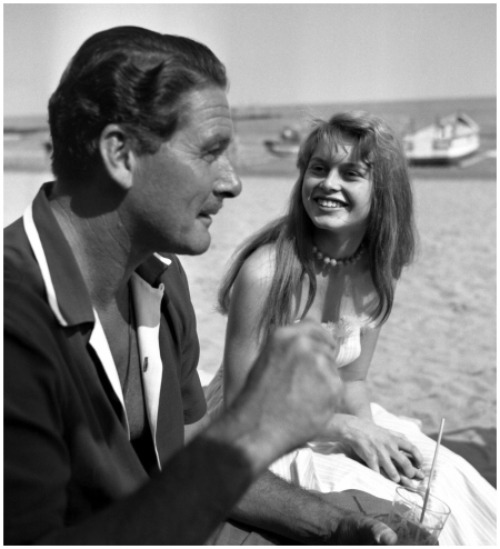 Erroll Flynn and Brigitte Bardot Cannes 1956