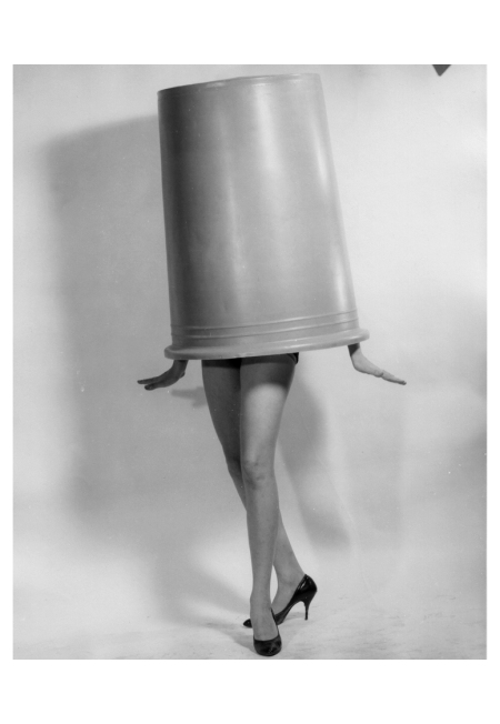 Lauren Hutton playfully put a trash can over her head Photo Norman Nathan 1962