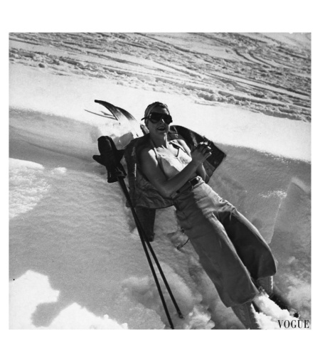 "Mrs. Joseph Thomas in Sun Valley, described by Vogue as ""Austria in Idaho.""Vogue, April 1, 1938 Photo Toni Frissell"