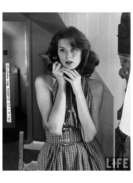 Actress-Model Suzy Parker telephoning in apartment 1957 Photo Allan Grant