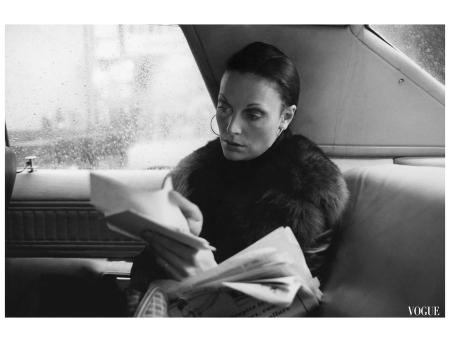 Fashion designer Diane Von Furstenberg, sitting in the back of a car