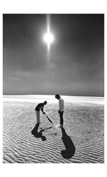 Françoise Rubartelli and Richard in Falke Fashion. St. Peter Ording 1971 Photo FC Gundlach
