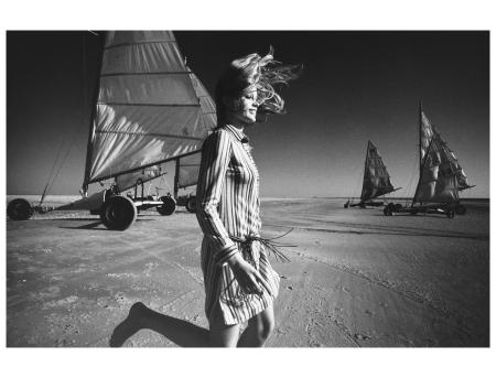 Françoise (Rubartelli) at the beach Sailing Falke Fashion. St. Peter Ording 1971 Photo FC Gundlach