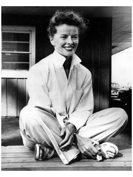 Katharine Hepburn relaxes in Stratford, Connecticut, where she is rehearsing for Shakespeare's Merchant of Venice with the American Shakespeare Festival 1957 Corbis Archive