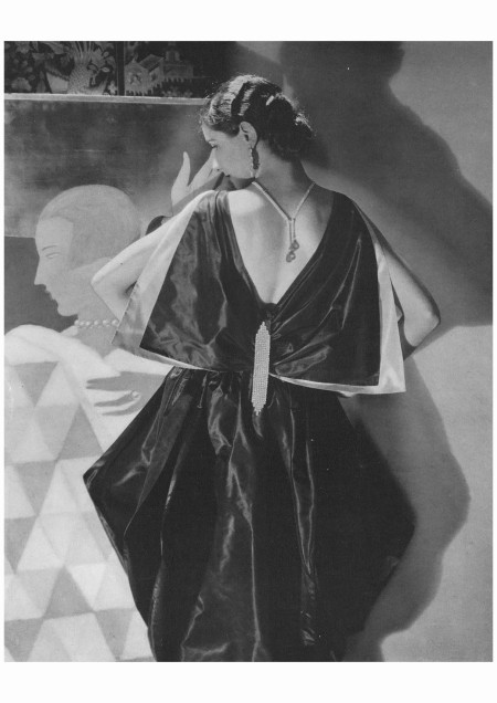 Lanvin's romanticism, here expressed with a butterfly bow at the back of a stunning evening dress, coexisted with Art Deco's streamlined aesthetic Edward Steichen, Vogue, May 1, 1927