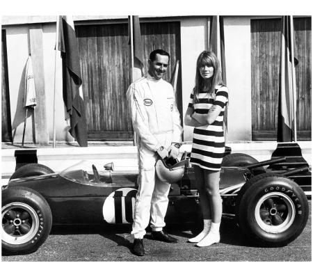 Françoise Hardy with Formula 1 World Champion Jack Brabham, 1966
