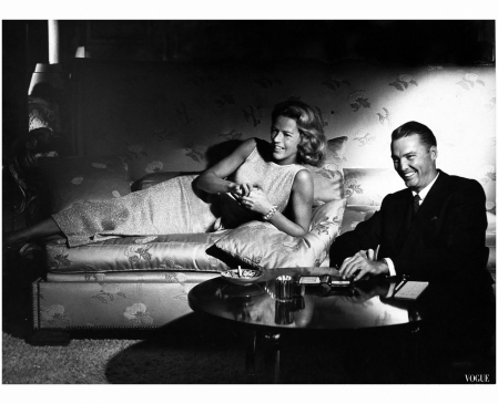 Mrs. John S. Palmer and her husband, relaxing at home Vogue, November 1, 1961 Photo Horst P. Horst