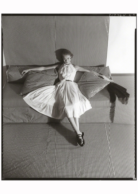 White Dress on Striped Sofa II, 1951 Photo Horst P. Horst