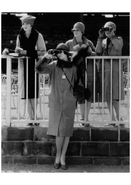 At the Belmont Park racetrack, models catch the action in vintage prep attire. Jordan Baker—sporting star and supporting character in Gatsby's drama—would approve. Photographed by Edward Steichen for Vogue (November 1926)