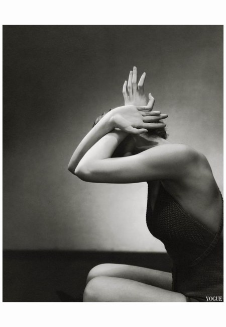 model posing for a Beauty Primer on hand and nail  Edward Steichen Vogue - June 1934