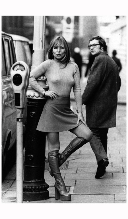 Susan Shaw models a mini skirt and platform boots. 1970 Tim Graham